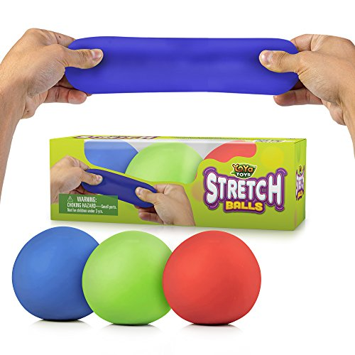 YoYa Toys Pull, Stretch & Squeeze Stress Balls 3 Pack - Elastic Construction Sensory Balls - Ideal for Stress & Anxiety Relief, Special Needs, Autism, Disorders & More