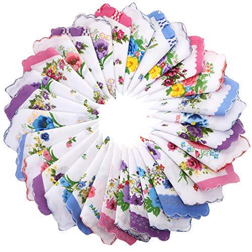 30 Pieces Women Soft Cotton Pocket Handkerchiefs Ladies Hankies Vintage Floral Print Handkerchiefs