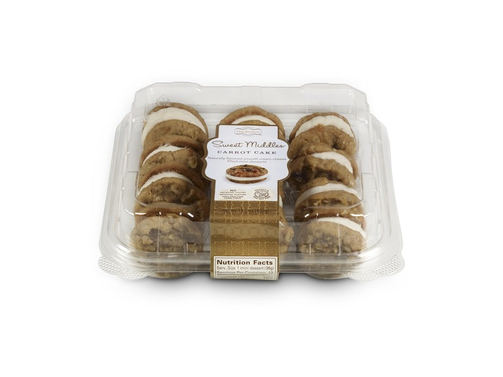 Our Specialty Sweet Middles, Peanut and Tree Nut Free, Carrot Cake Mini Cream Filled Sandwich Cookies, Pack of 2, 12 Cookies per Pack, 15.5 Ounces per Pack