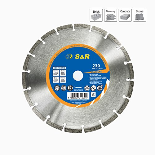 S&R Diamanttrennscheibe Segment 230x7x22,2 mm Standard, für Universal, lasergeschweißt, Trockenschnitt