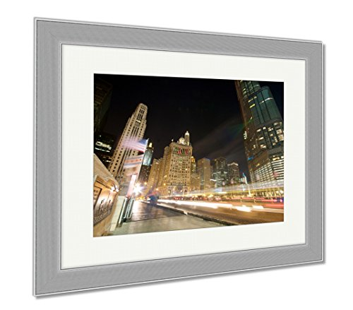Ashley Framed Prints Traffic On Michigan Avenue In Chicago, Wall Art Home Decoration, Color, 30x35 (frame size), Silver Frame, - On Shops Chicago Michigan Avenue