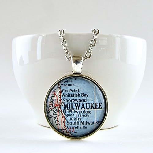 Amazon.com: Milwaukee Map Pendant Necklace: Handmade