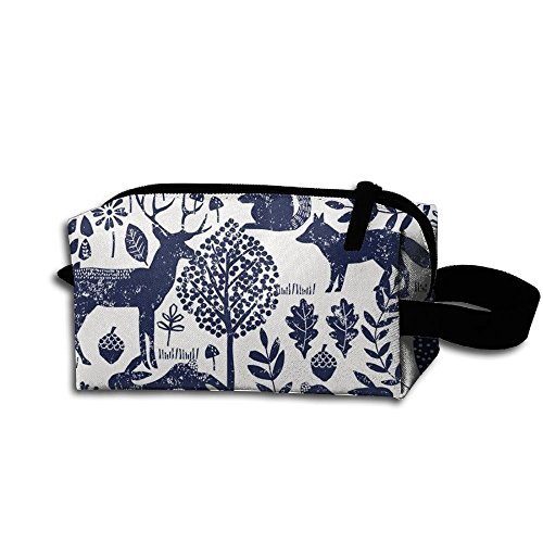Price comparison product image Navy Woodland Animals Fabric Storage Cosmetic Bag Portable Travel Makeup Bag Packing Pouches