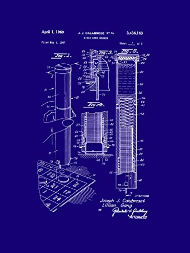 Framable Patent Art PAPSP104MB The Original Poster Art Print Bingo Night Family Game 18in by 24in Patent, Dark Blue by Framable Patent Art