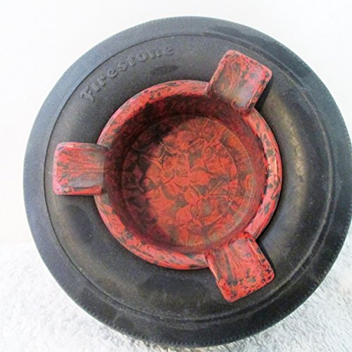 Firestone Tires Vintage Ashtray made in U.S.A. by Kiefer McNeil mid century pliable rubber and Bakelite