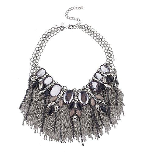 Noir Jewelry Silver Tone Chain Fringe Statement Bib Necklace - Fringe Bib