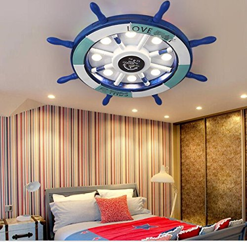 Best to Buy Eye protection Wooden Mediterranean children's room ceiling lamp with master bedroom boy cartoon lamp 8=30-40W-white light LED lamp 62x62x130CM Ceiling Lamp (85-265V),inlude bulbs (Blue) (130 Lamp)
