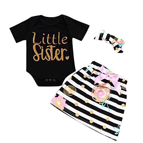 Camidy Little Big Sister Matching Romper T-Shirt Polka Dot Skirt Headband Outfits Set (3-6M, Little)
