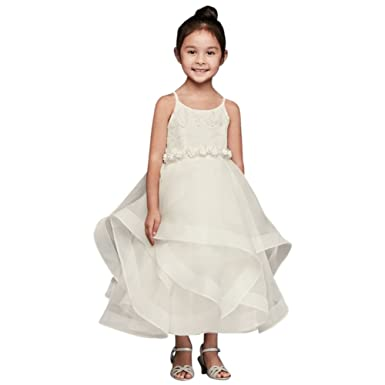 97d14306e Amazon.com: David's Bridal Lace and Tulle Flower Girl/Communion Dress with Full  Skirt Style WG1371: Clothing
