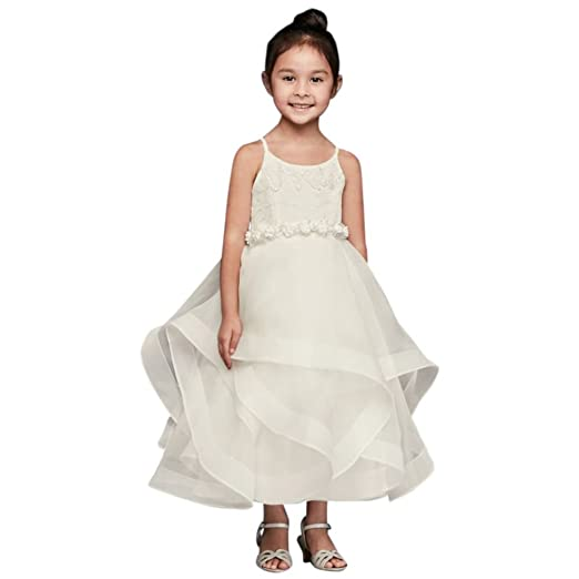 b144daca178 Amazon.com  David s Bridal Lace and Tulle Flower Girl Communion Dress with  Full Skirt Style WG1371  Clothing