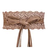 Womens Faux Leather Wrap Around Obi Style Waist Band Belt (Khaki Lace)