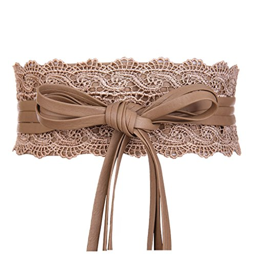 - Womens Faux Leather Wrap Around Obi Style Waist Band Belt (Khaki Lace)