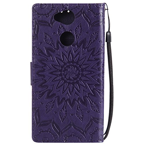 Case For Xperia XA2,Sony XA2 Phone Case,BtDuck Leather Wallet Case Vintage Sunflower Case Clear Phone Case Shockproof Full Protection Leather Cover Flip Folio Outdoor Protection Shell with Cards Slots #Purple