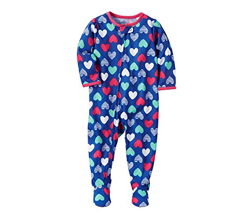 Carter's Girls' 12M-24M Heart Print One Piece Cotton Pajamas 24 Months