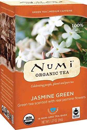 Numi Organic Tea Jasmine Green, 18 Count Box of Tea Bags (Pack of 3) (Packaging May Vary)