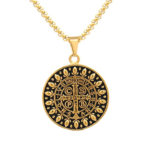 Catholic Necklace - Men's Saint Benedict Exorcism Medal Catholic Cross Protection Stainless Steel Pendant Necklace Gold