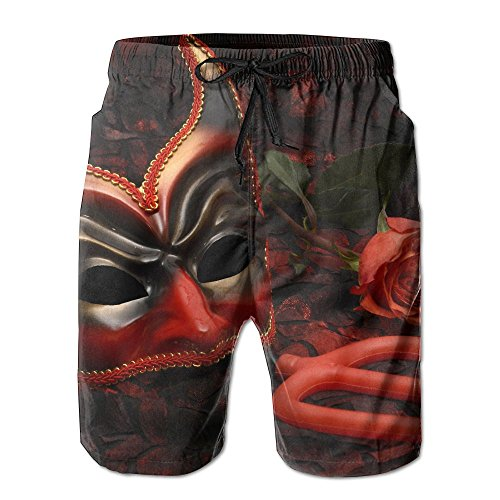 TCHten Red Devil Sunshine Cool Men's Bathing Quick Dry Pocket Beach Shorts L