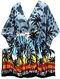 LA LEELA Soft fabric Printed Beach Swim Cover Up OSFM 14-28 [L-4X] Grey_2105