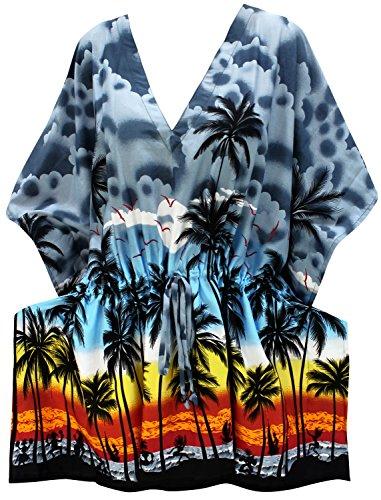 LA LEELA Soft fabric Printed Beach Swim Cover Up OSFM 14-28 [L-4X] Grey_2105 ()