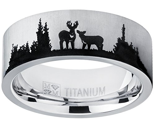- Metal Masters Co. Men's Outdoor Hunting Titanium Ring Wedding Band with Laser Etched Deer Stag Scene 9