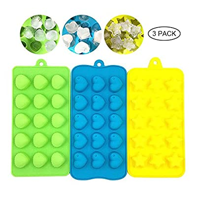 KOBWA Silicone Chocolate Candy Molds, 3 Packs Non-Stick BPA Free Flexible Hearts, Stars & Shells Baking Wax Molds Ice Maker Molds Ice Cube Trays for Making Cake Muffin Cupcake Gumdrop Jelly