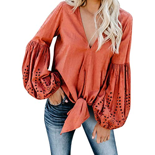 HAALIFE ◕‿ Women's Round Neck Blouse Solid Bow Tie Top Classic V Neck Lantern Sleeve Shirts with Keyhole Orange