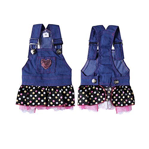 WONDERSKY Pet Dog Lace Denim Dresses Puppy Jean Costume Clothes with Handmade Sequins Sweet Heart,XS