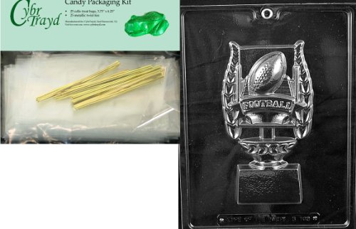 Cybrtrayd Mdk25G-S103 Football Trophy for Specialty Box Sports Chocolate Candy Mold, Includes 25 Cello Bags and 25 Gold Twist Ties
