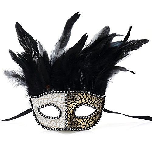 Oxfox Masquerade Mask Halloween Costume Mardi Gras Mask With Feather Christmas Party Prom Gold (Gold Halloween Mask)