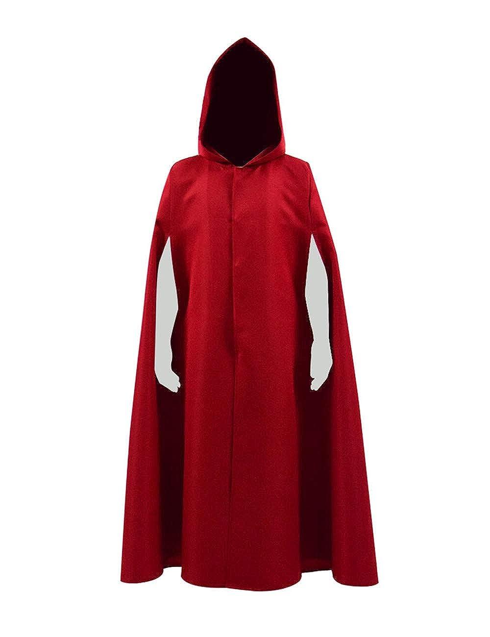 Expeke Halloween Party Women Handmaid Red Cape Dress Costume