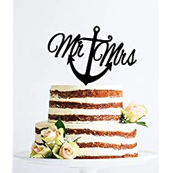 Scripted Nautical Mr And Mrs With Anchor Navy Wedding Decor Naval Wedding Beach Wedding Topper Destination Wedding Cake Topper Wedding Anniversary Party Favors Wedding Gifts For Bride And Groom