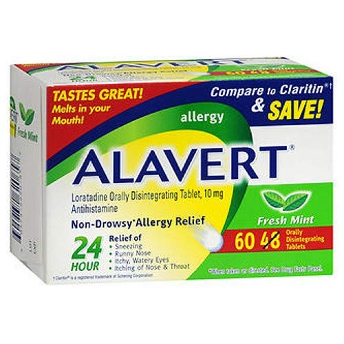 Alavert 24 Hour Orally Disintegrating Tablets Fresh Mint 60 Tablets (Pack of 2)