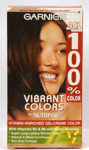 Garnier Nutrisse couleurs vibrantes Par vitaminé Gel-crème Couleur des cheveux # 401 brun-foncé (pack de 2)