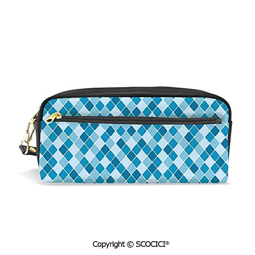 Harlequin Antique - Girls Boys 3D Printed PU Pencil Case Holders Bag with Zipper Harlequin Winter Theme Pattern Elongated Squares Aquatic Colors Antique Italian Decorative Stationery Makeup Cosmetic Bags Back to School