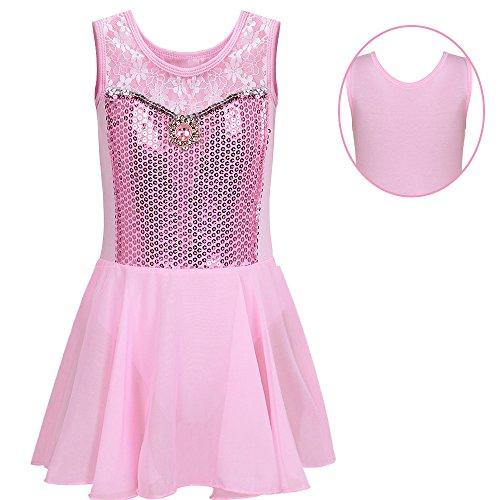 BAOHULU Toddlers Dancing Cosplay Tutu Ballet Leotard for Girls 3-12 Years B098_Pink_4A