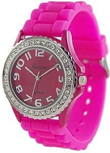 Geneva Platinum Women's 6886.HotPink Pink Rubber Quartz Watch with Pink Dial