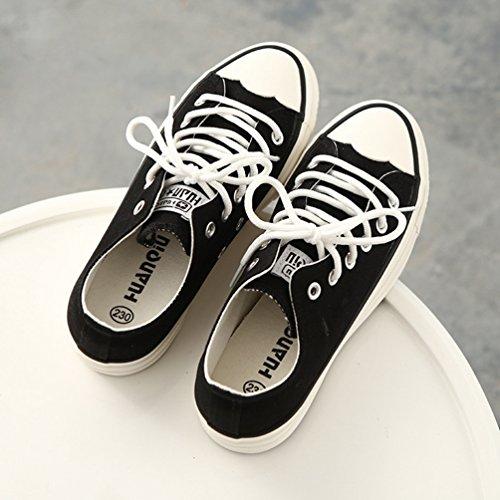 negro Zapatos JRenok Cordones con Planos Mujer g0qFX