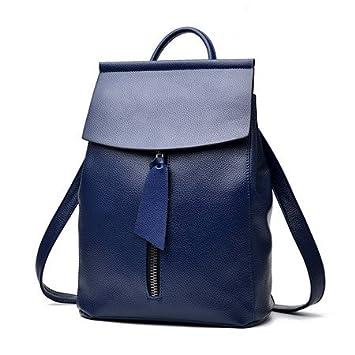 liningwomen Mochilas de Piel Auténtica marca damas moda mochilas para adolescentes Niñas Mochilas escolares bolsas de viaje de piel Real, azul: Amazon.es: ...