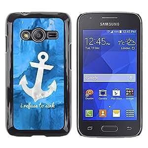 LECELL--Funda protectora / Cubierta / Piel For Samsung Galaxy Ace 4 G313 SM-G313F -- Blue Anchor Sea Sailor Boat Ship --