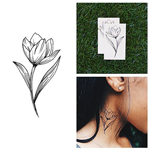 Tattify Tulip Temporary Tattoo - Stem From Something (Set of 2) - Other Styles Available and Fashionable Temporary Tattoos - Tattoos that are Long Lasting and Waterproof