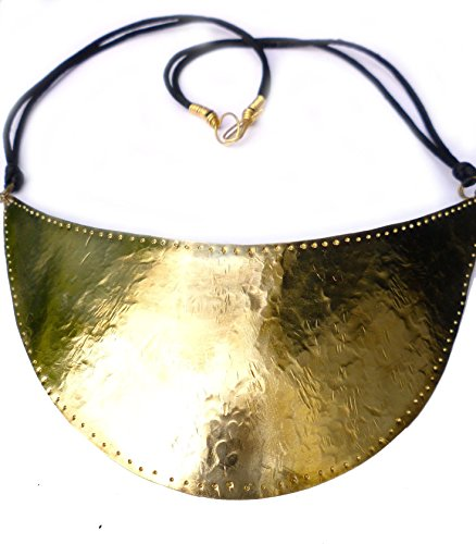 Polished Brass Shield, Texture and Punched Armor Necklace with Black Nylon/Satin Cord and Brass Wire Wrap Ends