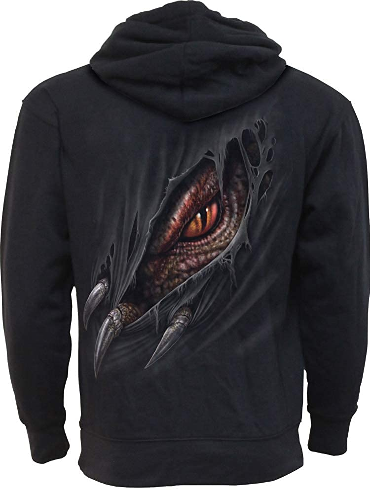 Breaking Out Side Pocket Stitched Hoody Black Spiral