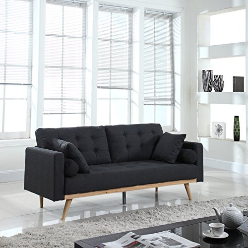 Divano Roma Furniture Mid-Century Modern Tufted Linen Fabric Sofa (Dark Grey)