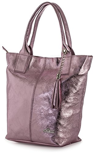 Leather Tote Handbag Liatalia Shopper Italian Pink Large Soft Genuine Shoulder Metallic Tassel Aurora And Baby Womens Pouch yTcHTpxCI