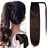 Wrap Around Ponytail Hair Extensions Human Hair Long Straight 100% Real Remy Hair Pony Tails Hair Extensions For Women #04 Medium Brown 20 inches 95g