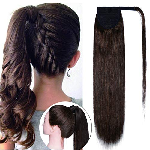 Wrap Around Ponytail Hair Extensions Human Hair Long Straight 100% Real Remy Hair Pony Tails Hair Extensions For Women #04 Medium Brown 18 inches 90g ()