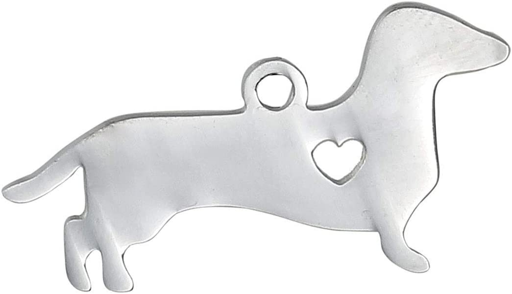 "PEPPERLONELY 1pc Silver Tone Stainless Steel Pet Silhouette Dachshund Animal has My Heart Charms Pendants 30x16mm (1-1/8""x5/8"")"