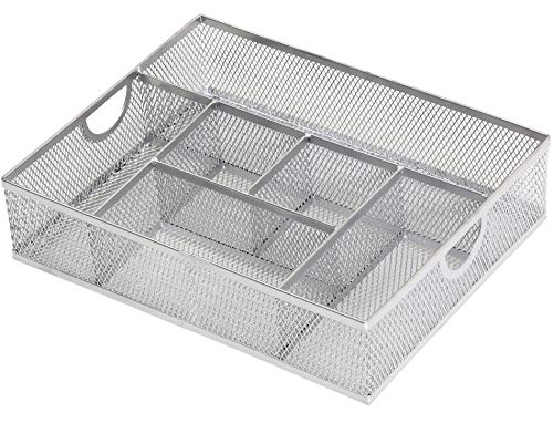 Ybm Home Office Desk Drawer Storage Organizer Tray Caddy, 6 Compartments, Metal Mesh, Silver 2262