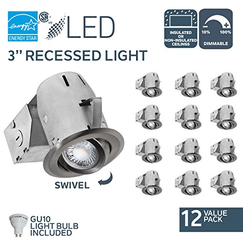 Nadair CP734L-12BN LED Recessed Light, 12 Pack, Brushed Nickel, Piece ()