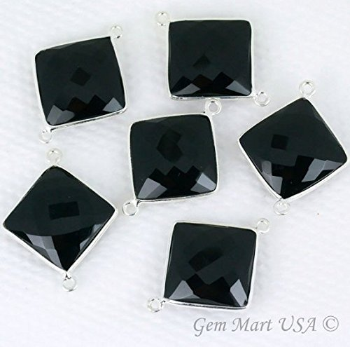 Wholesale Natural Black Onyx, Bezel Square Shape Connector, 16mm Square Sterling Silver Plated, Double Bail 1pc. (BO-10193)